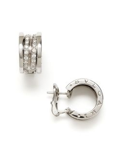 Bulgari B Zero White Gold & Diamond Hoop Earrings