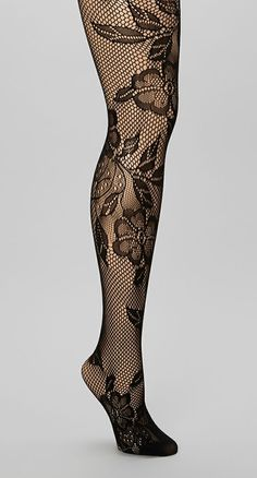 Black Flower Fishnet Tights