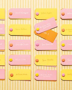 Simple—but colorful—office supplies were used to make this fun seating directory. Paper Presentation, Yellow Sweater, Top Tags, Nude Color, Gel Pens, Making Memories, Table Numbers, Bright Pink, Wedding Colors