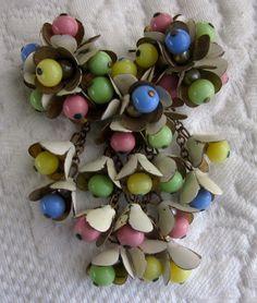Vintage 1940s Miriam Haskell Colorful Bead Flower Brooch