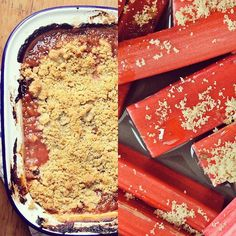 Its foggy cold and downright miserable this morning. Yet a quick way to brighten things up grab some new season Yorkshire  rhubarb. Roast it with a little orange juice and vanilla crumbly buttery topping. Bake still sticky and super-delicious. Dont tell me you wont feel better after that. Recipe in header.  . . . . . . . . .  #foodwriting #yorkshirerhubarb #rhubardcrumble #comfortpuddings #winterrecipes #forcedrhubarb#homecooked #roastedrhubarb #yorkshirepuds  #foodwriter #elainelemm…