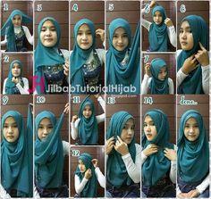 Tutorial Style Hijab Pashmina bahan shiffon yang Menutupi Bagian Dada Simple
