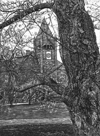 """Thompson Hall at UNH"" (2003) - scratchboard art"