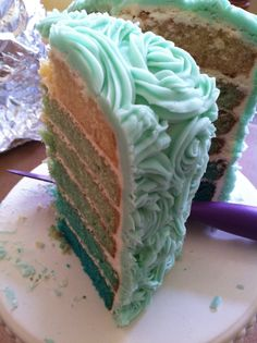 tiffany blue ombre cake with piped rosettes