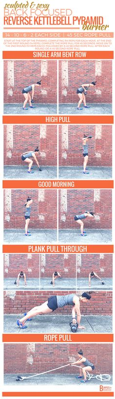 This Reverse Kettlebell Pyramid Burner is perfect for building a sculpted and sexy back for summer.   Burpees for Breakfast