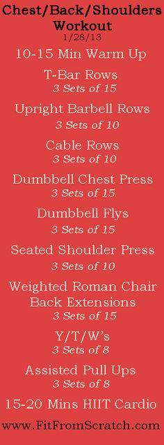 Chest/Back/Shoulders Workout