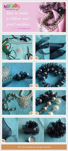 How to make a ribbon and pearl necklace-well paired with your sweater – Nbeads