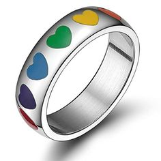Womens Mens Wedding-Bands Stainless Steel Rainbow Rubber Heart Circle Round 8mm Rainbow Size 11 by Aienid. Solid Exquisite Finished Rings for You. High Quality Stainless Steel,High Strength,Low Elongation. Perfect for Your Apparel & Finger. Comfortable to Use,Please Treat Them Gently,Donot Rub Others. Nice Personalized Item,Nice Choice By Aienid Concept.