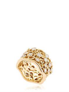 AURELIE BIDERMANN - DENTELLE GOLD RING WITH DIAMONDS - GOLD