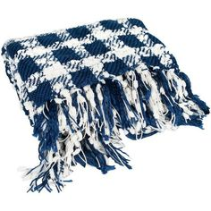 Elegant Check Pattern Knit 50 inch x 60 inch Polyester Throw Blanket with Fringe, 3 Colors, Blue