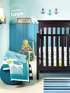 Circo Whales 'n Waves bedding set will add a splash of color to the nursery.