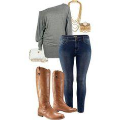 Tall ran boots, grey shirt