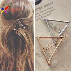 2015 phụ nữ của quà tặng giáng sinh thời trang vàng bạc Tone kim loại triangle tóc clip jewelry cho phụ nữ phụ kiện pinzas de pelo