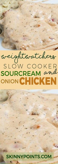 Slow cooker Sour Cream and Onion Chicken With only 6 Weight Watchers Smart Points (Keto Slow Cooker Recipes) Crock Pot Recipes, Ww Recipes, Skinny Recipes, Slow Cooker Recipes, Cooking Recipes, Healthy Recipes, Recipies, Low Cal Chicken Recipes, Soup Recipes