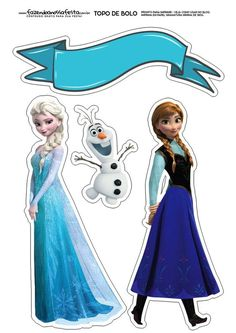 Anna and Elsa of Frozen Free Printable Cake Toppers. - Oh My Fiesta! in english Frozen Theme Cake, Frozen Themed Birthday Party, Elsa Birthday, Frozen Cake Topper, Frozen Party, Turtle Birthday, Turtle Party, Birthday Parties, Bolo Frozen