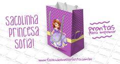 Sacolinha Surpresa Princesa Sofia - Grátis Princesa Sophia, Princesas Disney, Gift Wrapping, Gifts, Tote Bags, Molde, Parties, Stuff Stuff, Little Princess