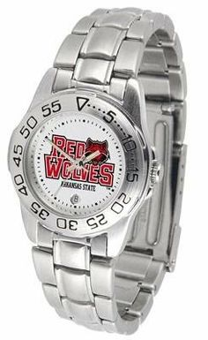 Arkansas State Red Wolves Ladies Stainless Steel Wristwatch by SunTime. $55.95. Calendar Function With Rotating Bezel. Officially Licensed Arkansas State Red Wolves Ladies Wristwatch. Links Make Watch Adjustable. Stainless Steel-Scratch Resistant Crystal. Women. Arkansas State Red Wolves ladies stainless steel wristwatch. Women's Red Wolves watch comes with a stainless steel link bracelet. A date calendar function plus a rotating bezel/timer circles the scratch resistant cryst...