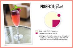 Prosecco Float- I loooove putting a scoop if sorbet into anything drinkable! A good fun alcohol-free drink is ginger ale with lime or lemon sorbet! Coke (or diet) is really good with coconut! (some rum doesn't hurt that either:)