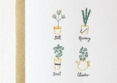Herbs Letterpress Cards. Set of 6 by paperlovelypress on Etsy, $16.50