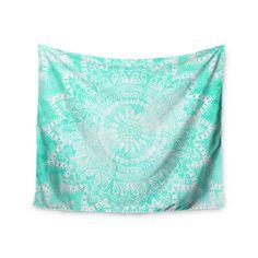 """Nika Martinez """"Boho Flower Mandala in Teal"""" Aqua Green Wall Tapestry"""