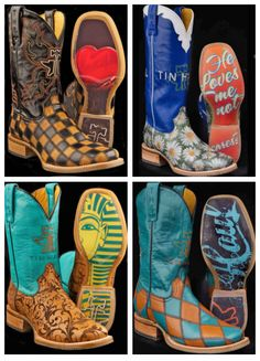 ❦ Tin Haul Cowgirl Boots: 1) Checkheart, 2) Daisy, 3) Damask, and 4) Diamonds For Gals.