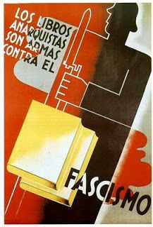 """Anarchistic books are weapons against fascism"" -Anarcho-Syndicalist Propaganda Spanish War, Propaganda Art, Party Poster, Military History, Weapons, Black Panthers, Diesel Punk, Bauhaus, Typo"