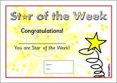 Star of the Week certificates (SB1917) - SparkleBox