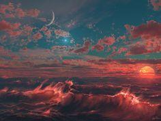 Sun, moon, earth and sky