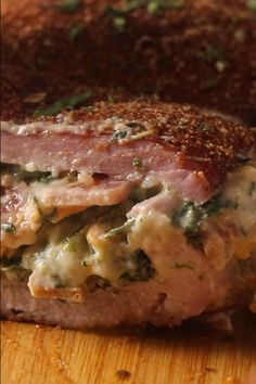 This smoked stuffed pork tenderloin is coated in a delicious cajun spice rub and stuffed full of cheese, bacon, and spinach. As soon as you cut into it, the creamy cheese filling oozes out. Pork Recipes, Grilling Recipes, Best Pork Recipe, Wild Game Recipes, Pellet Grill Recipes, Smoking Recipes, Smoked Pork, Pork Dishes, Pork Tenderloin Injection Recipe