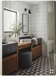 Rustic Modern Bathroom Designs Dreaming of a modern mountain home or rustic and refined farmhouse? Here are Rustic Modern Bathroom Designs that are sure to inspire! Modern Farmhouse Bathroom, Modern Bathroom Design, Bathroom Designs, Bathroom Ideas, Bathroom Storage, Eclectic Bathroom, Bathroom Remodeling, Bathroom Colors, Remodel Bathroom
