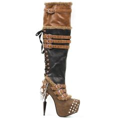 Ventail - Size: UK Steampunk, The Ventail is a thigh high steampunk inspired boot by Hades Footwear in brown and black imitation leather. It has brown Thigh High Platform Boots, Thigh High Boots, High Heel Boots, Knee Boots, Heeled Boots, High Heels, Women's Boots, Ankle Booties, Steampunk Boots