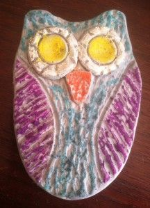 Air dry clay owl colored with oil pastel and watercolor wash