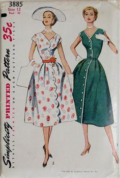 Vintage 1950s Dress Pattern-Bust 30-1952 Simplicity 3885 Uncut