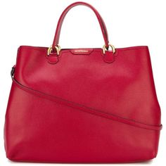 Emporio Armani Classic Tote Bag (800 CAD) ❤ liked on Polyvore featuring bags, handbags, tote bags, red, red leather tote bag, red handbags, genuine leather handbags, genuine leather tote bag and genuine leather tote