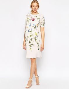 Image 4 ofASOS Maternity Shift Dress With Bird And Floral Embroidery