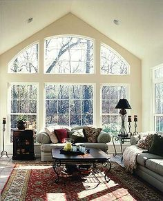 Love these windows and vaulted ceilings!!