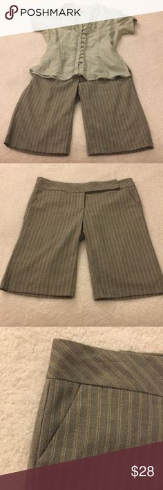 Pinstripe Bermuda Shorts - Size 7 Pinstripe Bermuda Shorts - Size 7. Gray. Top in photo is available for purchase in my closet. Hardly worn. Excellent Condition! Shorts Bermudas