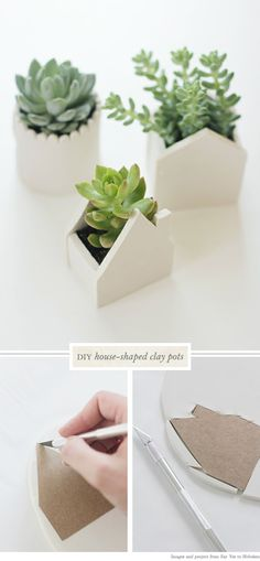 DIY - Air Dry Clay House pots