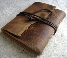 Leather Journal Brown rugged handmade rustic by DancingGreyStudio, $24.50