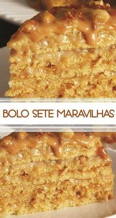Receita de Bolo sete maravilhas Combinação de sucesso: doce de leite e crocante de amendoim!