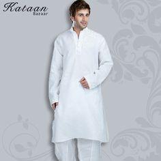 Plain White Kurta Pyjama with Embroidery Work