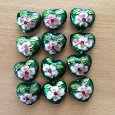 Cloisonne Hearts - Emerald, 24mm, 12 pcs