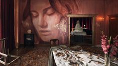 Australian street artist Rone has transformed an abandoned Art Deco mansion into an art installation filled with his painted female portraits. Burgundy Walls, Mansion Rooms, Melbourne Street, Images Gif, Art Deco Home, Exhibition, Interior Stylist, Another World, Street Artists