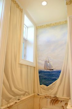 Trompe l'oeil view of sea through curtains: Re-Create this with Deco Haven Artistry, Murals & Decorative Painting!