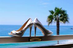 Beach Wedding Diamond Heels #beachwedding #weddingheels #diamondheels