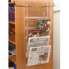 Acrylic End-of-Range Newspaper/Magazine Holder Magazine Holders, Magazine Rack, Newspaper Stand, Slat Wall, Metal Walls, Storage Spaces, Ladder, Range, Design