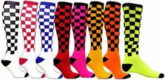 Checker Board Knee High Tube Socks available in 8 Bright Colors - Knee High Socks