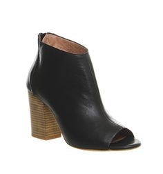 Office Imagery Peeptoe Ankle Boot Black Leather - Ankle Boots