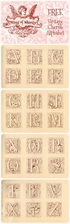 Wings of Whimsy: Vintage Cherub Alphabet - free for personal use
