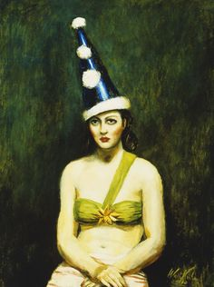 Girl in Pierrot's Hat, 1940 (oil on canvas) - Walt Kuhn (American, 1877-1949)
